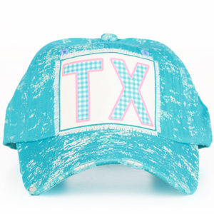 Texas Patch on Turquoise Spatter Cap. TX Cap.